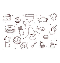 simple minimalistic icons vector image