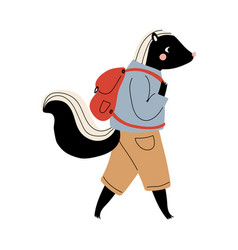 Skunk walking with backpack funny humanized vector