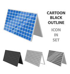 solar panel icon in outline style isolated on vector image