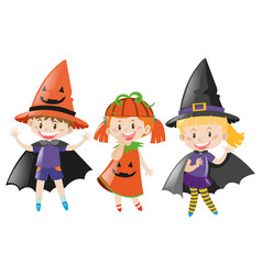 Three kids in halloween costume vector
