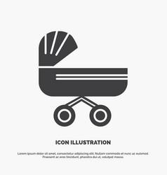 trolly baby kids push stroller icon glyph gray vector image