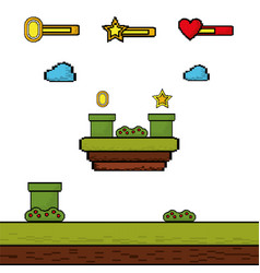 video game coin star level interface vector image