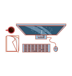 view aerial computer with documents and cup vector image