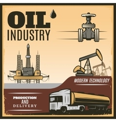 Vintage Oil Industry Poster vector image