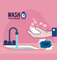 Wash your hands campaign poster with water tap vector