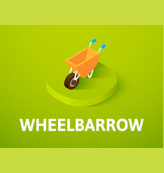 Wheelbarrow isometric icon isolated on color vector