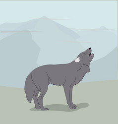 wolf on nature background vector image