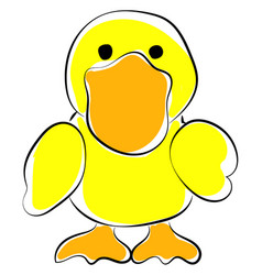 yellow duck on white background vector image