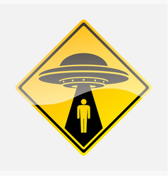 Yellow road sign with text ufo activity area vector