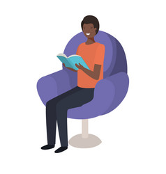 young black man reading book in the sofa vector image