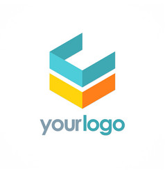 3d shape cube logo vector image