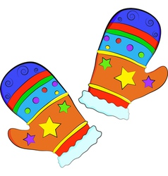 Christmas gift mittens vector image