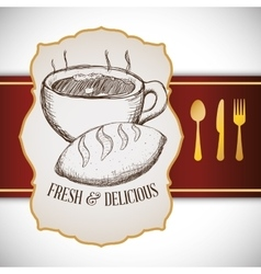 hand drawing breakfast fresh and delicious vector image vector image