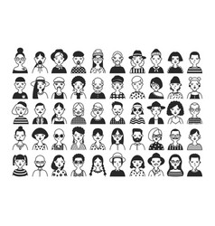 large collection of male and female cartoon vector image vector image