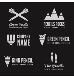 Logo badge label logotype elements with pencil vector image vector image