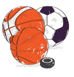 retro styled sport balls vector image