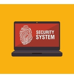 security system fingerpprint laptop vector image