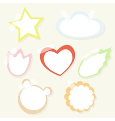 Set of colorful childish paper stickers with tape vector image