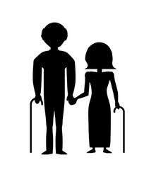 silhouette couple grandparents with cane vector image
