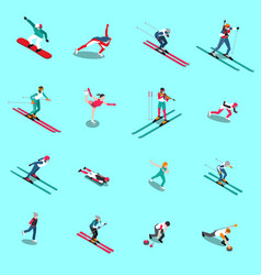 snowsports people isometric collection vector image vector image