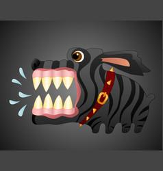 Very angry black dog cartoon character vector