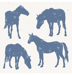 Horse silhouettes with grunge effect vector image vector image