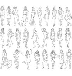 Sketches of women vector image