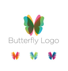 colorful butterfly wings logo set vector image vector image