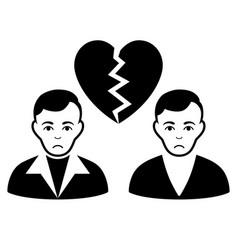 sad divorce gays black icon vector image