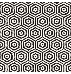 Seamless hand painted concentric hexagon vector