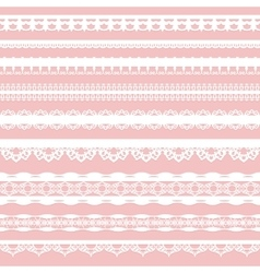 Set of white lace braid isolated on a pink vector image vector image