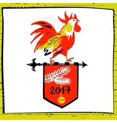 2017 Chinese New Year of the red Rooster vector image vector image