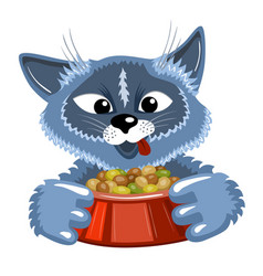 grey cat with bowl of food vector image