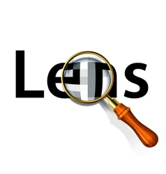 Magnifying glass and text label Lens vector image