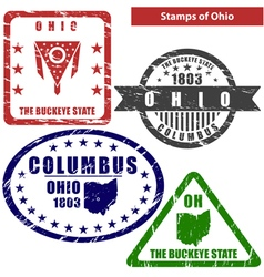 Ohio in stamps vector image vector image
