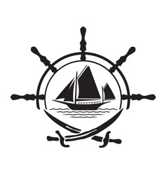 Pirate yacht boat logo with wheel and swords vector