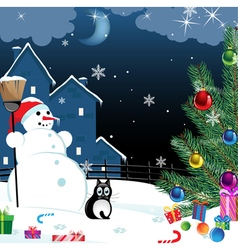 Snowman and lonely cat vector