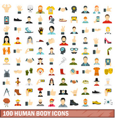 100 human body icons set flat style vector image
