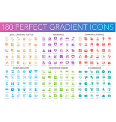 180 trendy perfect gradient icons set of legal vector