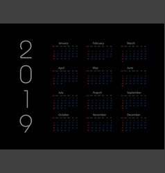 2019 new year calendar on 2019 year template vector image