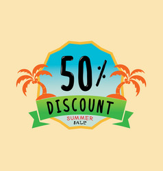 50 percent discount logo with coconut tree vector