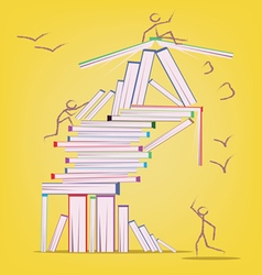 Abstract design with many books and stick figures vector