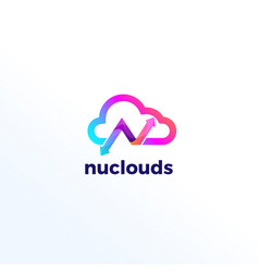 Abstract letter m clouds technology logo sign vector