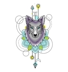 Abstract Wolf Watercolor Tattoo vector