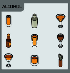 alcohol color outline isometric icons vector image