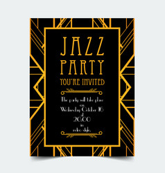 art deco vintage invitation template design vector image