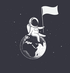 Astronaut holds flag on earth vector