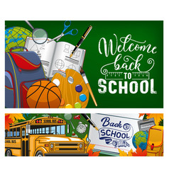 Back to school note in book bus and stationery vector