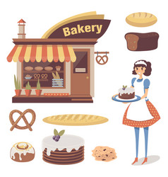 Bakery set with pastry store building baked goods vector
