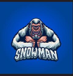 Bigfoot angry snow man vector